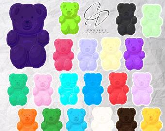 Candy clipart gummy bears. Bear clips etsy extra