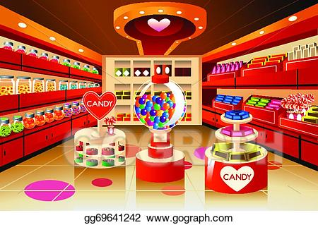 Eps illustration grocery store. Candy clipart shelf