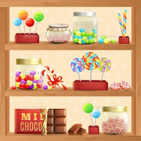 Sweet store vectors design. Candy clipart shelf