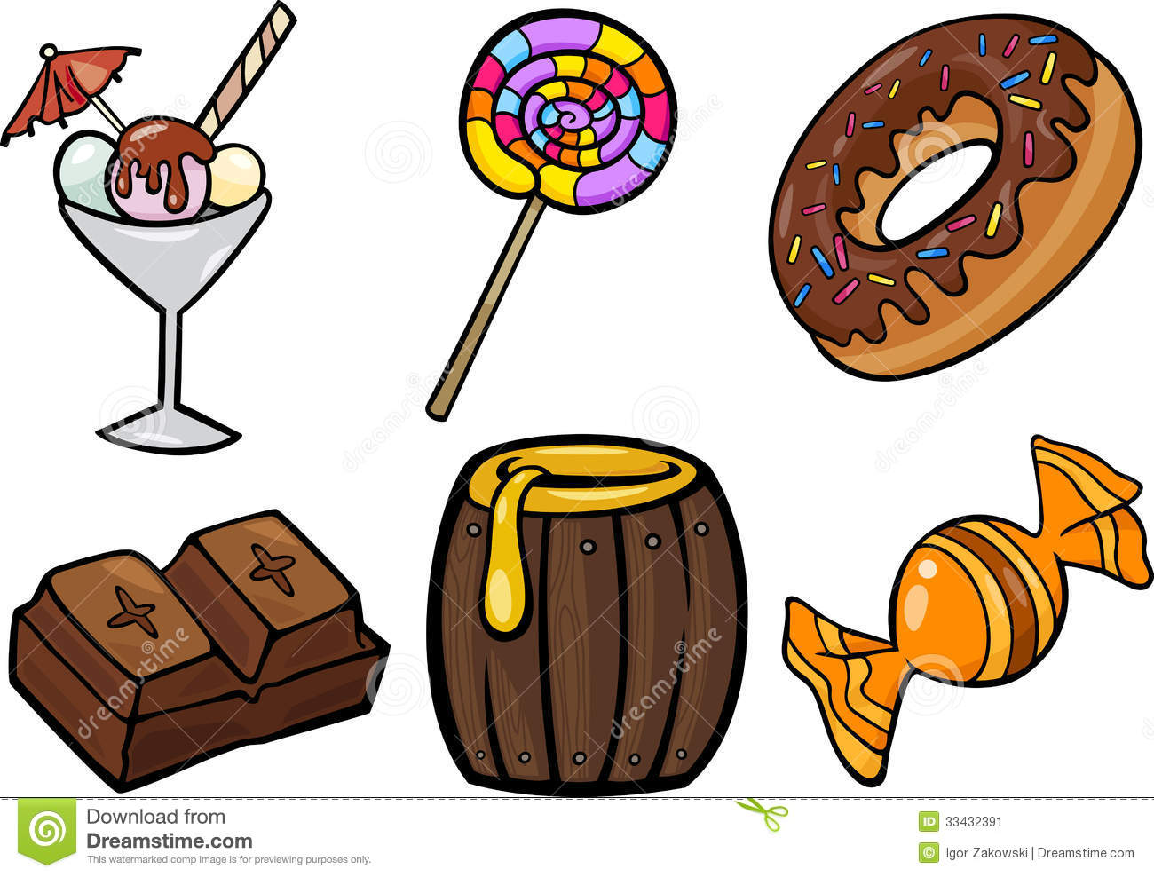 Pencil and in color. Candy clipart sweet food