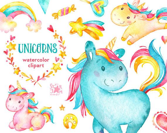 Unicorns watercolor clip art. Blue clipart unicorn