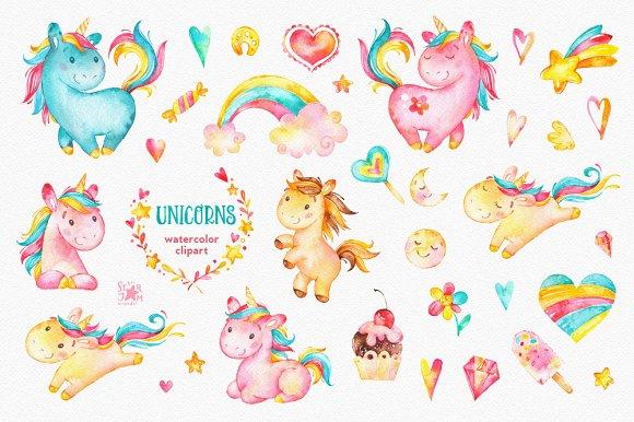 Clipart unicorn candy. Unicorns watercolor illustrations creative
