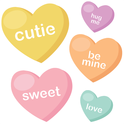 Candy hearts png. Svg cutting files valentine
