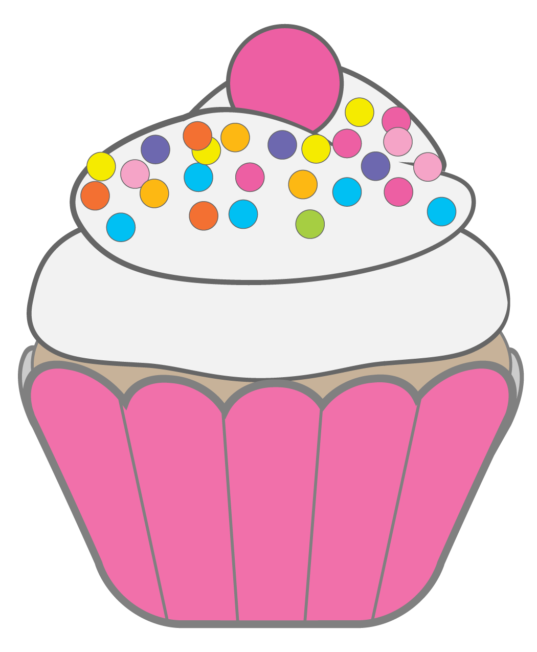 Jelly clipart single. Colorful cupcake