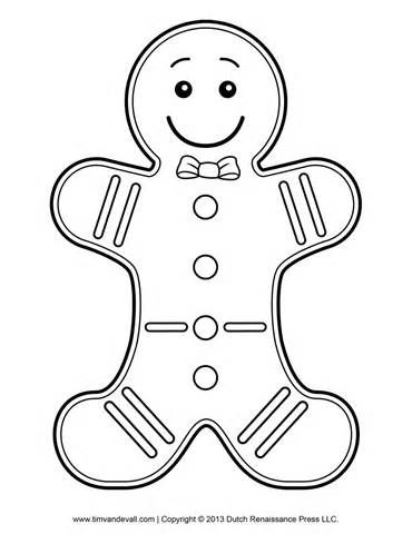 Man template coloring page. Gingerbread clipart candyland