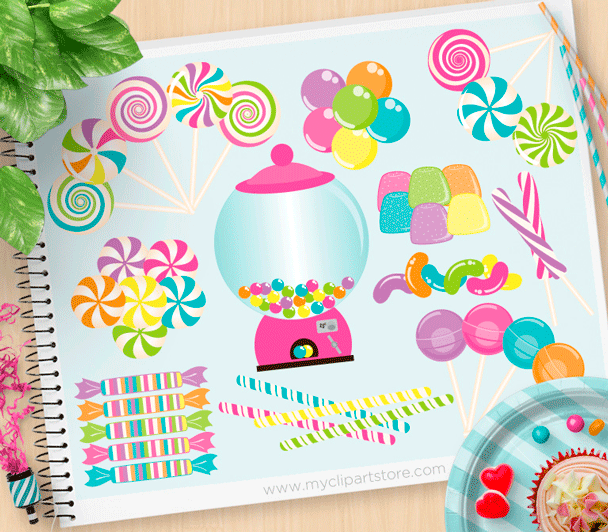 Candyland clipart vector.
