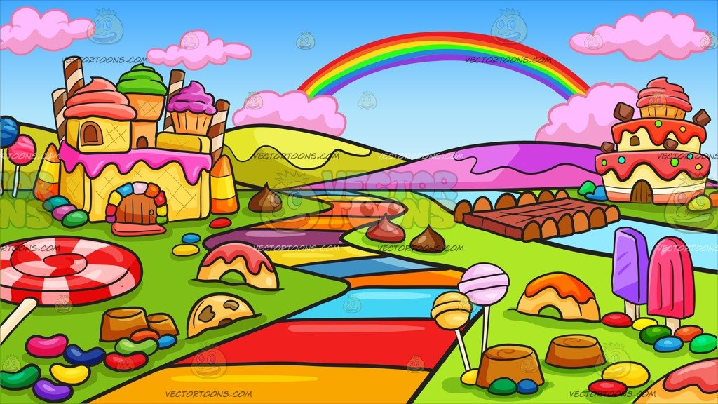 Candyland clipart vector. A candy land background