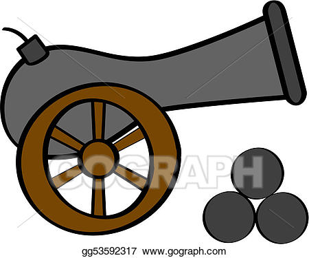 Vector art drawing gg. Cannon clipart