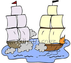 Boating clipart two ship. Ships firing cannons royalty