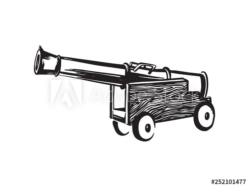 Antique ship pirate hand. Cannon clipart sketch