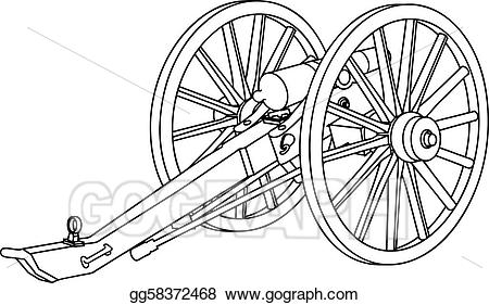 Eps illustration civil war. Cannon clipart sketch