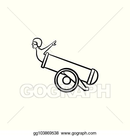 Cannon clipart sketch. Eps vector stuntman in