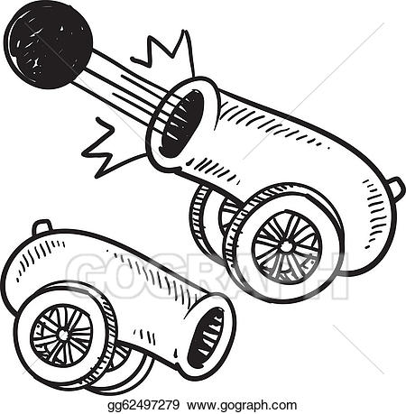 Vector illustration retro eps. Cannon clipart sketch