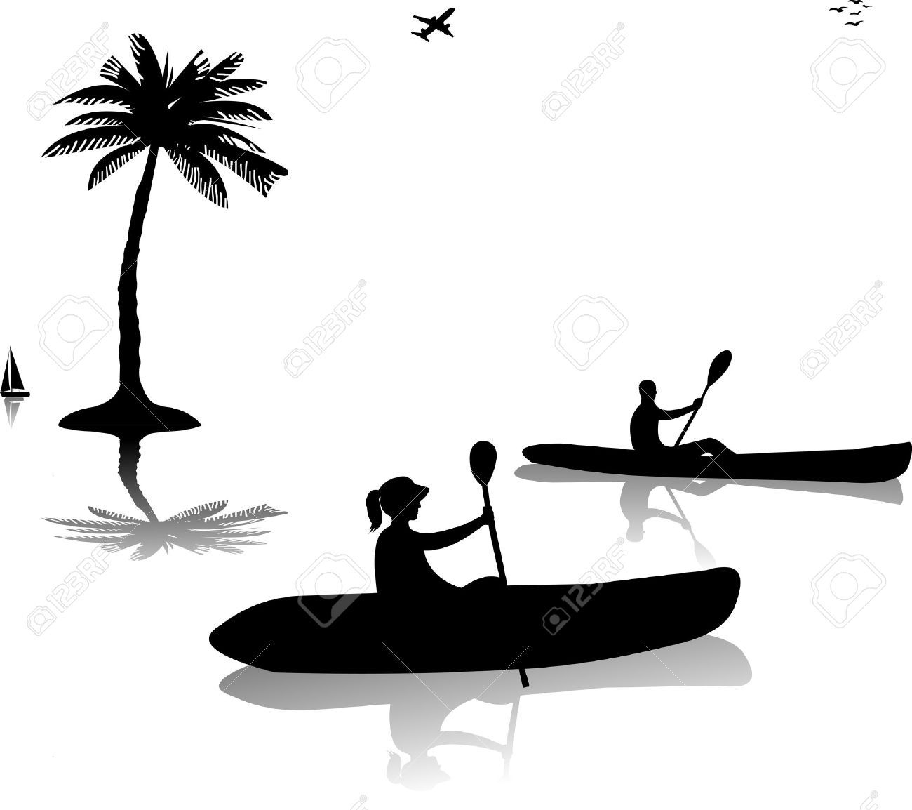 Silhouette clip art at. Boating clipart kayak