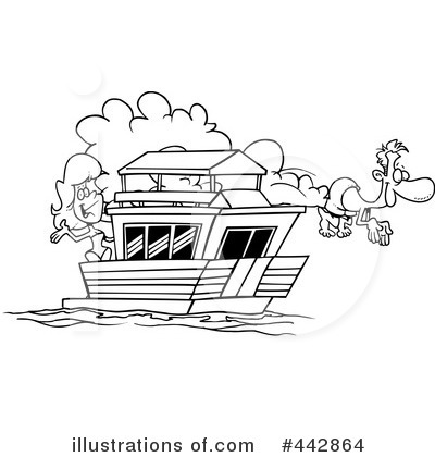 Boat illustration by toonaday. Canoe clipart outline