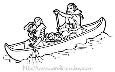 Kids drawing pinterest canoeing. Canoe clipart outline