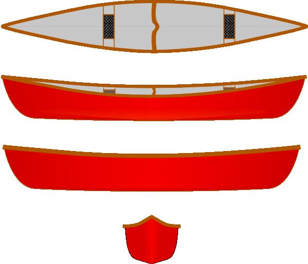 Canoe clipart red canoe. Multiple views clip art