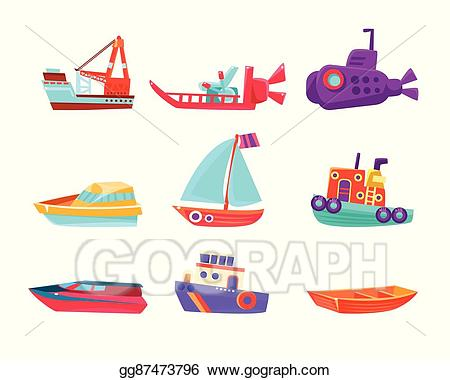 Vector art toy set. Boats clipart water transport