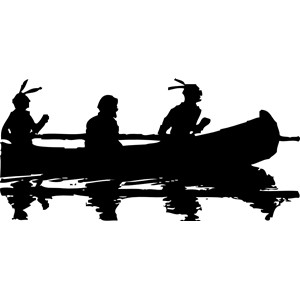 Indian . Canoe clipart silhouette