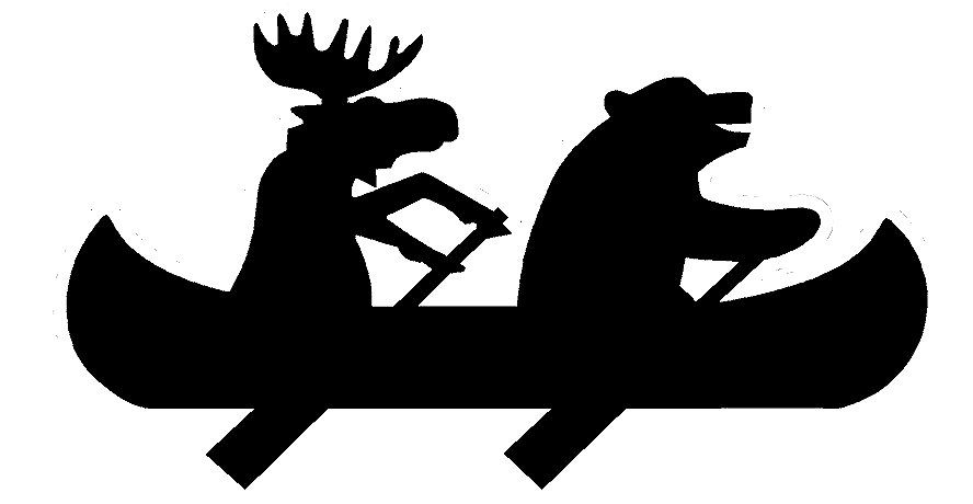 Bear and moose decal. Canoe clipart silhouette