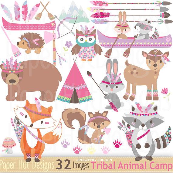 Camp clipart animal. Girls tribal animals woodland