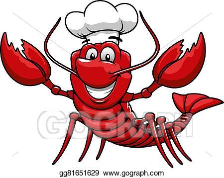 Lobster clipart cartoon. Vector art red chef