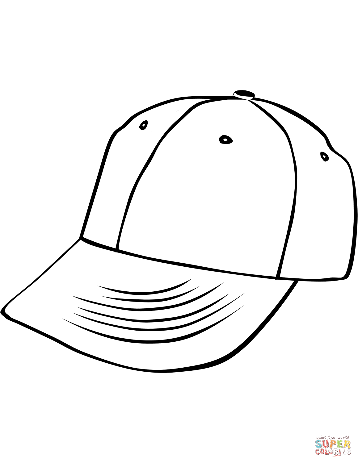 Cap clipart colouring. Baseball coloring page color
