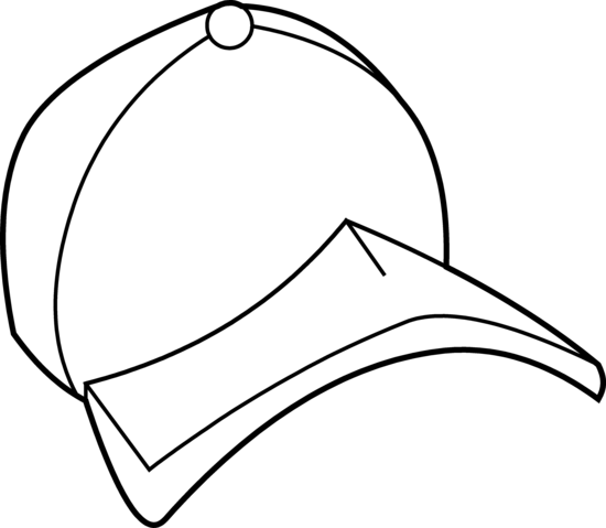 Cap clipart colouring. Baseball hat coloring page
