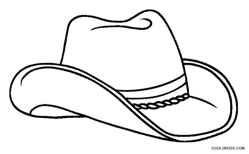 Cowboy hat child free. Cap clipart colouring page