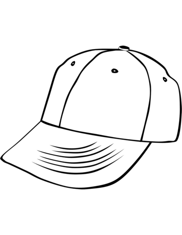 Cap clipart colouring page. Baseball coloring free printable