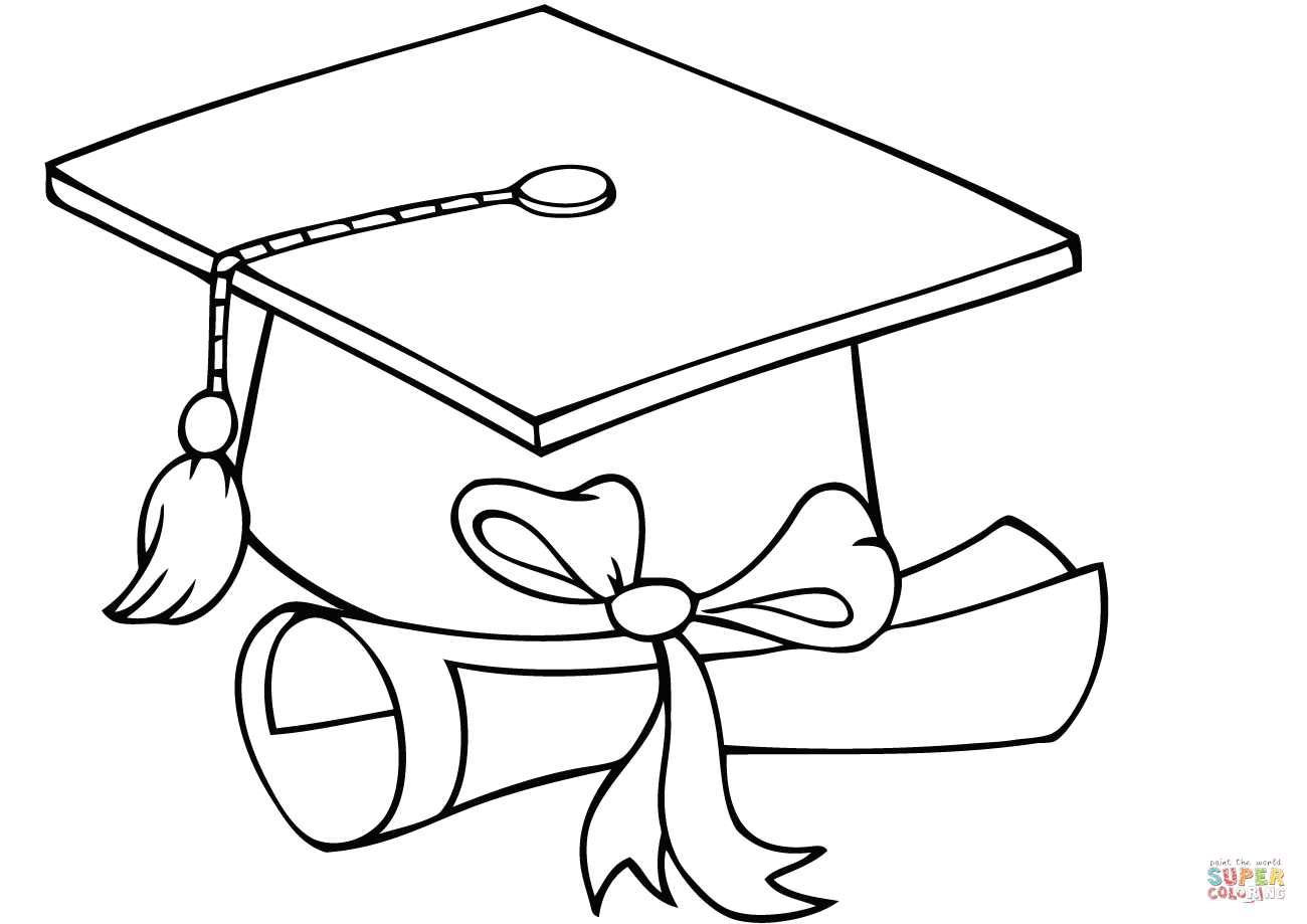 Graduate with diploma coloring. Cap clipart colouring page