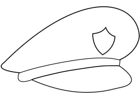 Cap clipart colouring page. Police hat coloring free