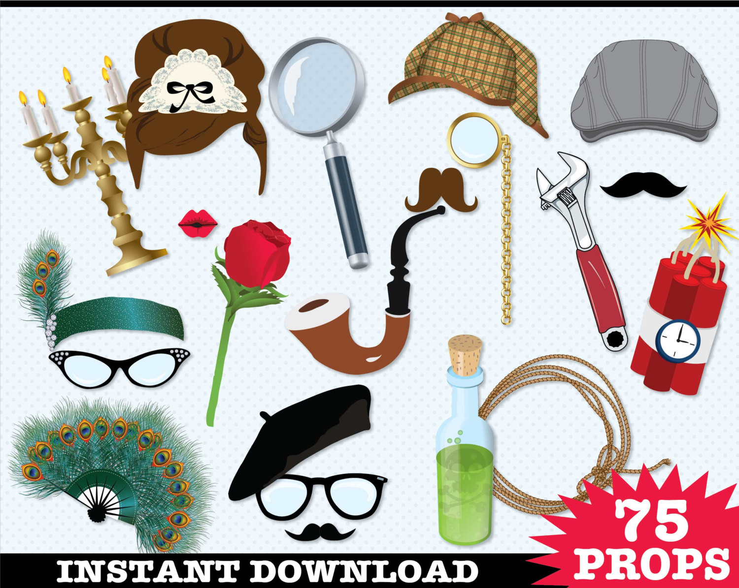 Murder mystery photo booth. Cap clipart detective
