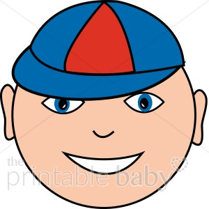 Boy with baby. Cap clipart face
