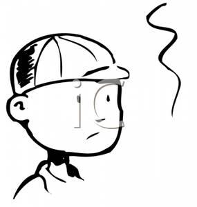 Cap clipart face. A retro cartoon of