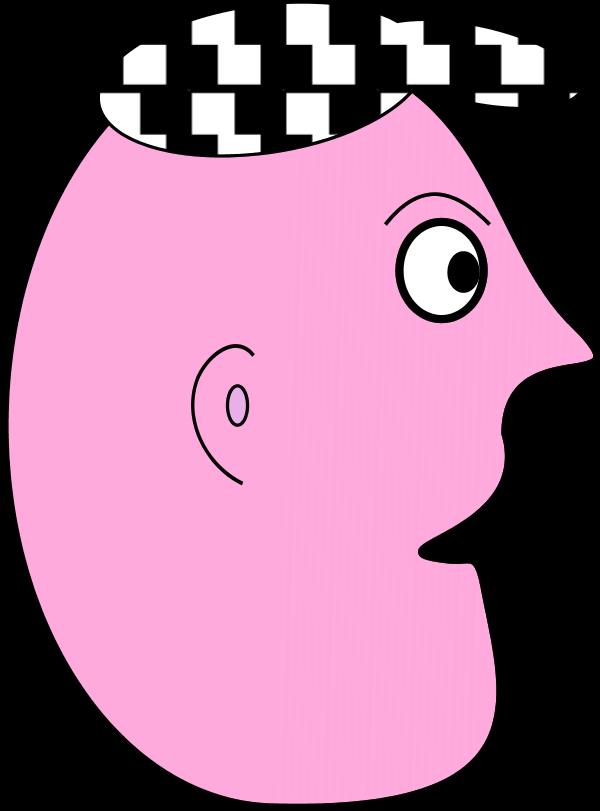 Cap clipart face. Cartoon man profile wearing