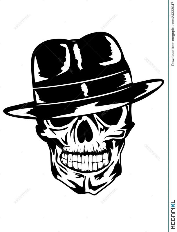 Skull in hat illustration. Cap clipart gangster