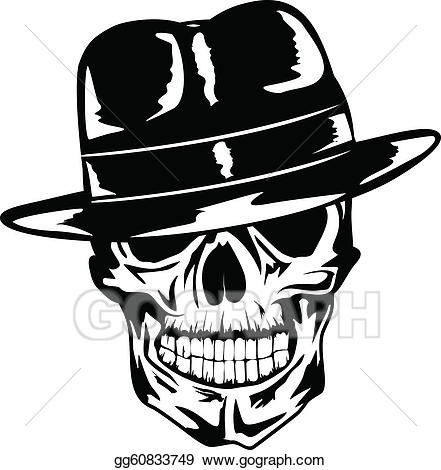Vector illustration skull in. Cap clipart gangster