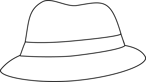 Detective clipart cap. Black and white hat