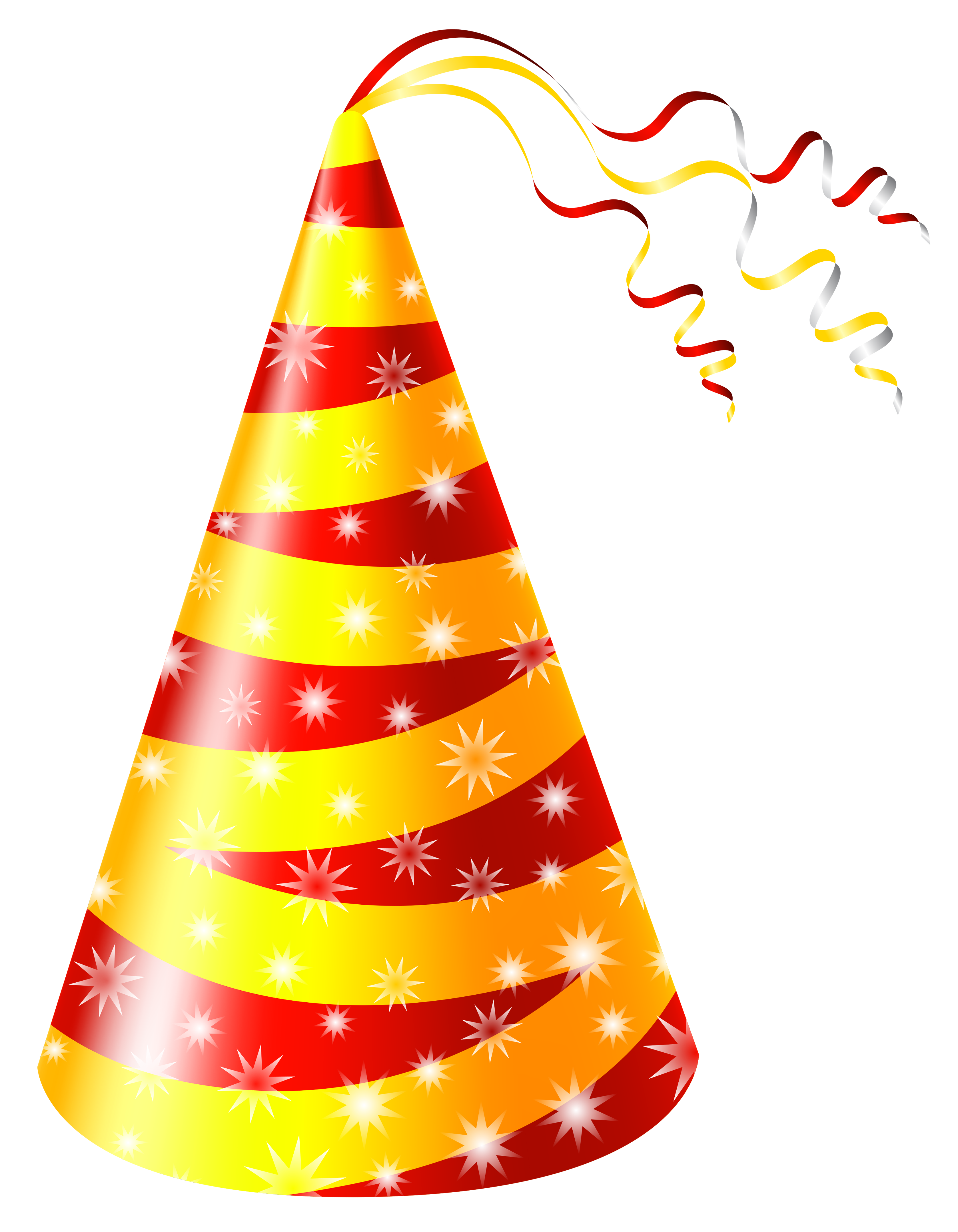 Clipart birthday caps. Yellow and red party