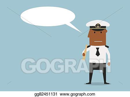 Vector art with spyglass. Cap clipart ship captain