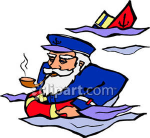 Cap clipart ship captain. Sea swimming away from
