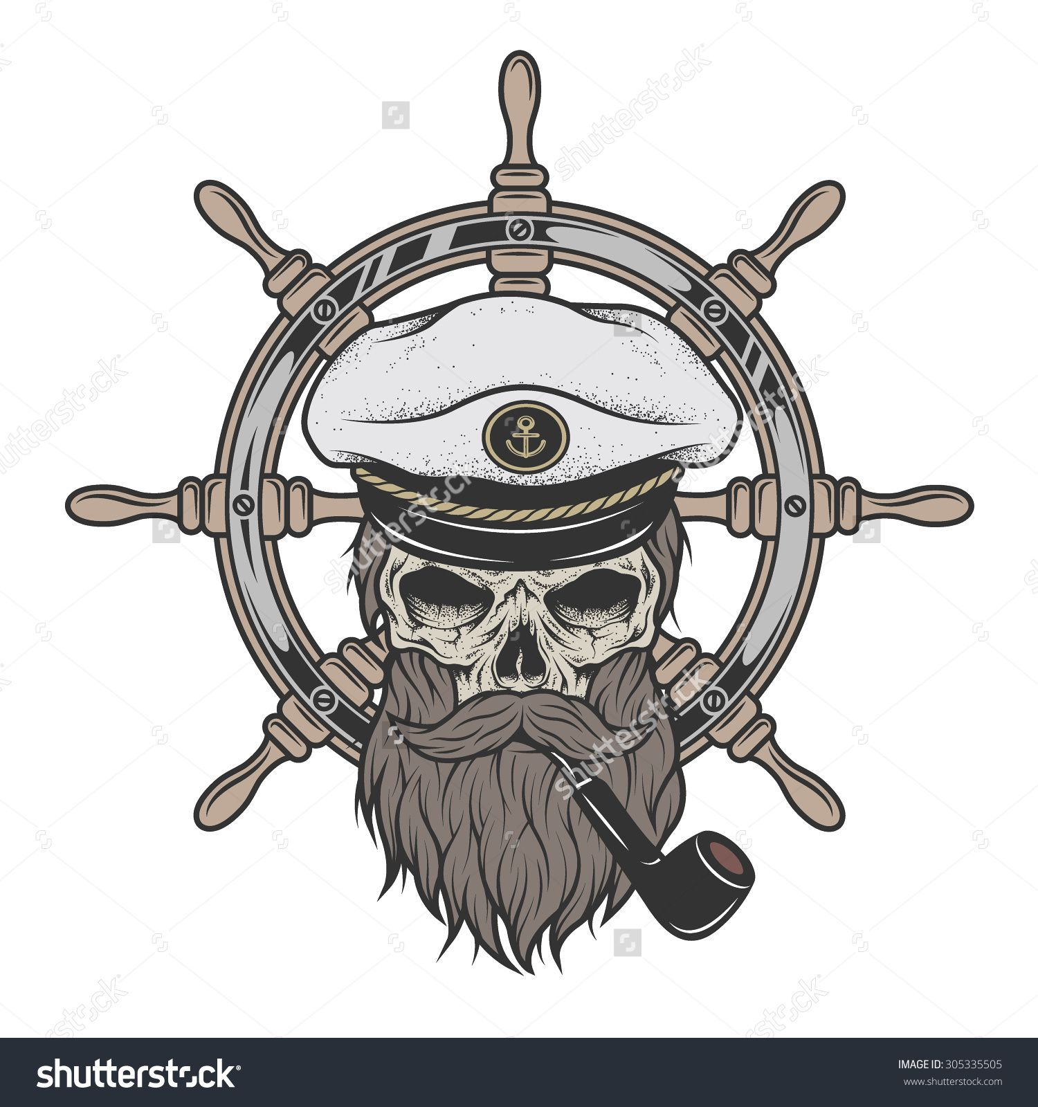 Stock vector skull in. Cap clipart ship captain