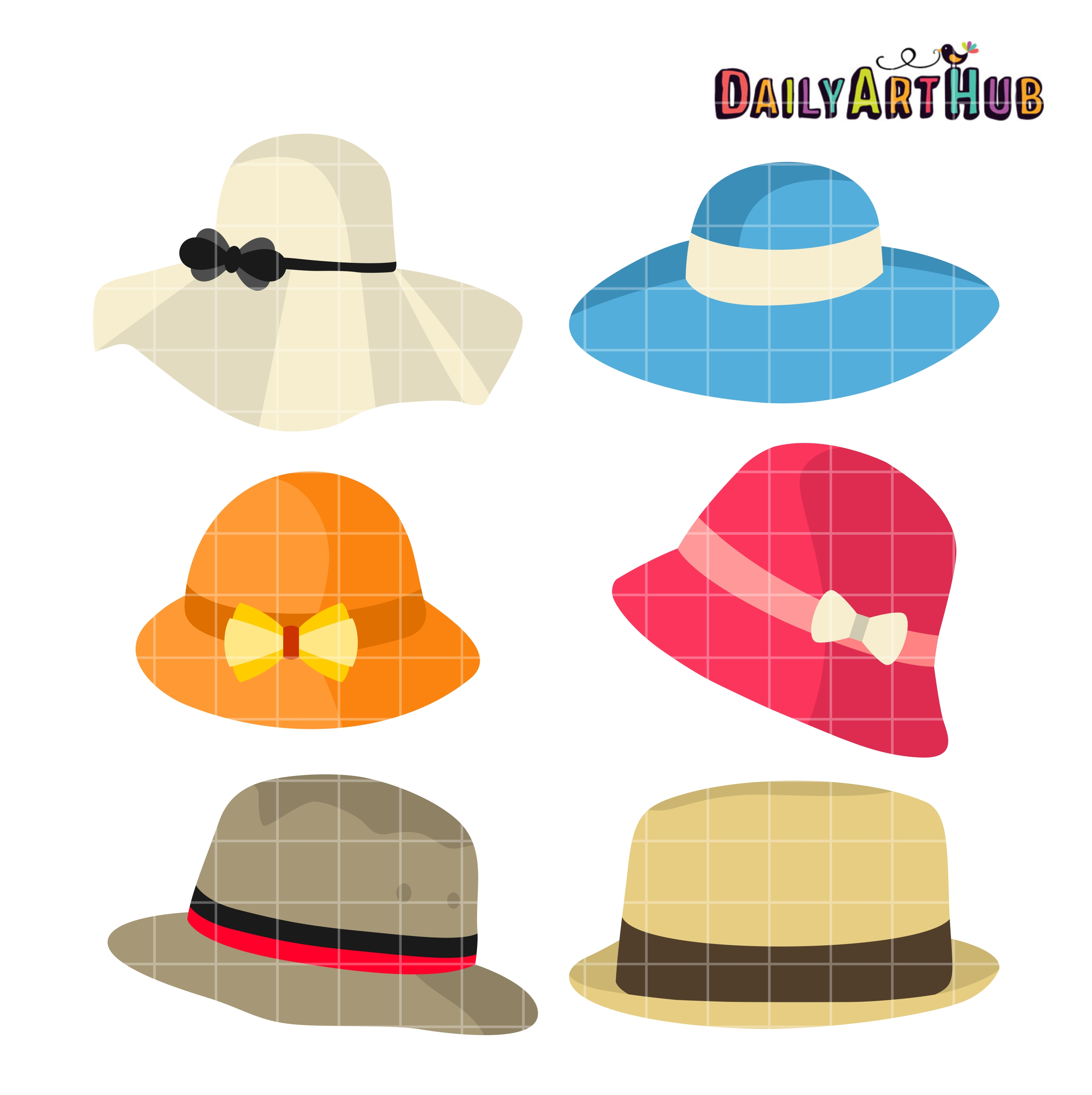Hats clipart cute. Summer clip art set