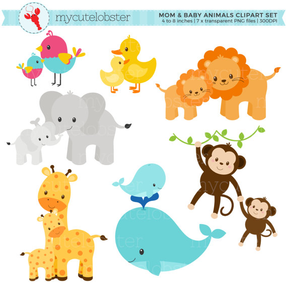 And animals set clip. Clipart mom baby animal