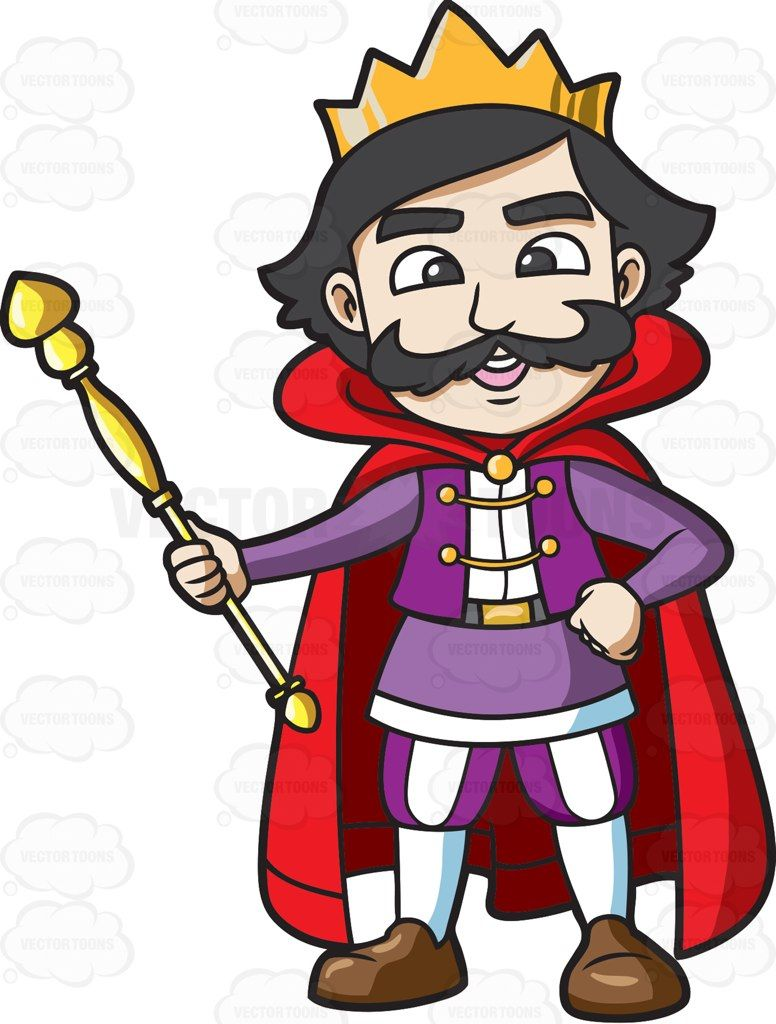A happy his staff. King clipart holding