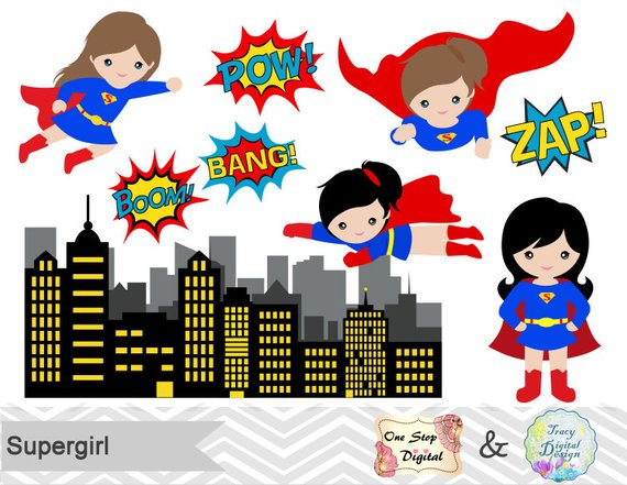 Little girl digital clip. Supergirl clipart