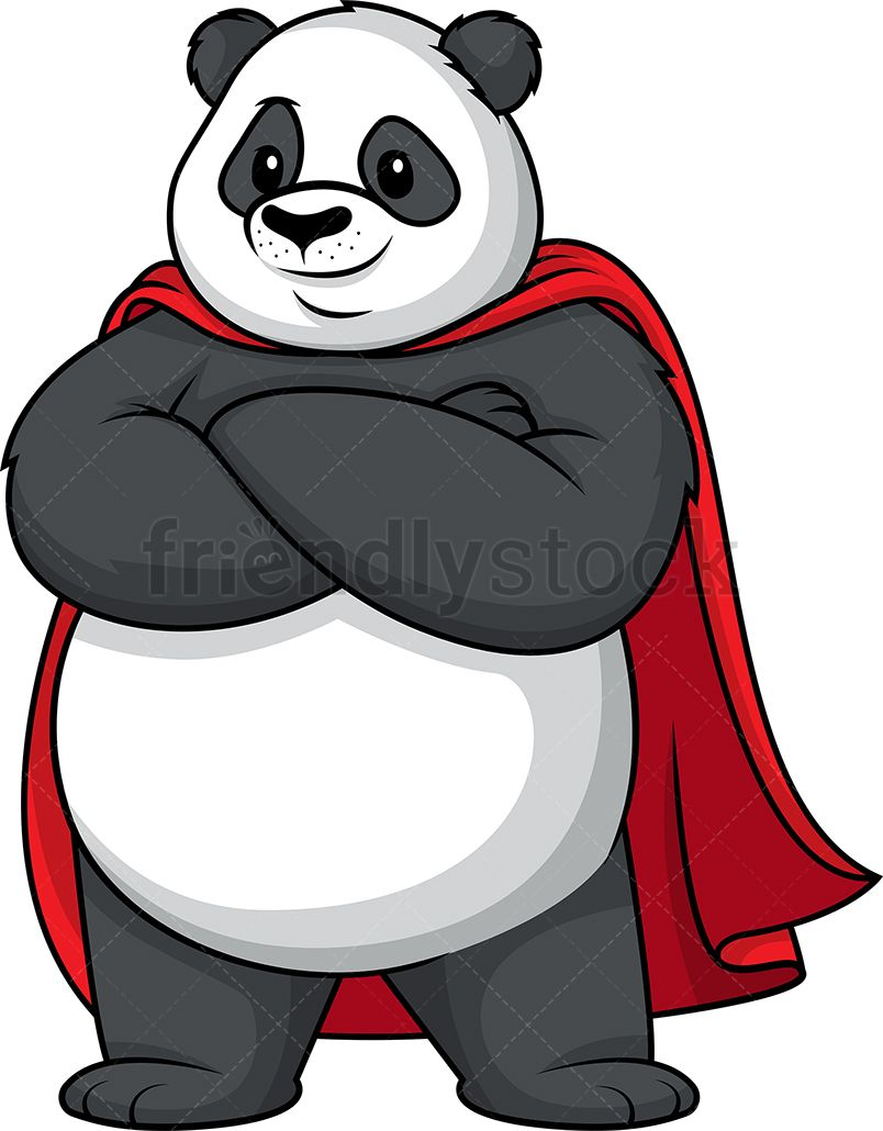 Panda superhero alb in. Cape clipart vector