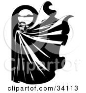 Illustration of a mysterious. Cape clipart wind