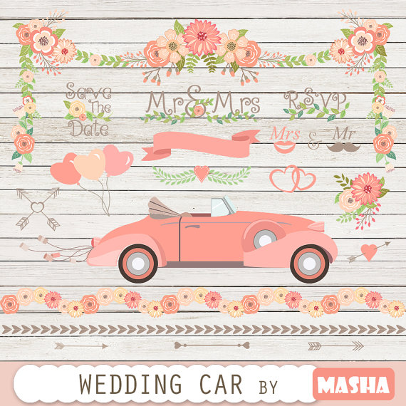Car clipart flower. Wedding with
